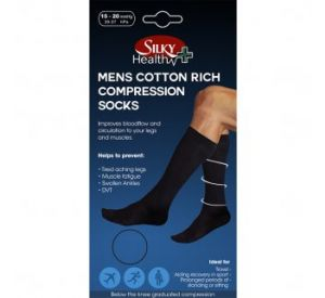 Silky Health Men's Cotton Compression Socks 15-20mmHg