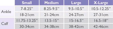 Solidea Footless Size Chart