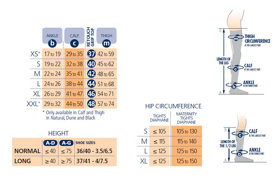 Sigvaris Diaphane Attrait Vertige Size Chart