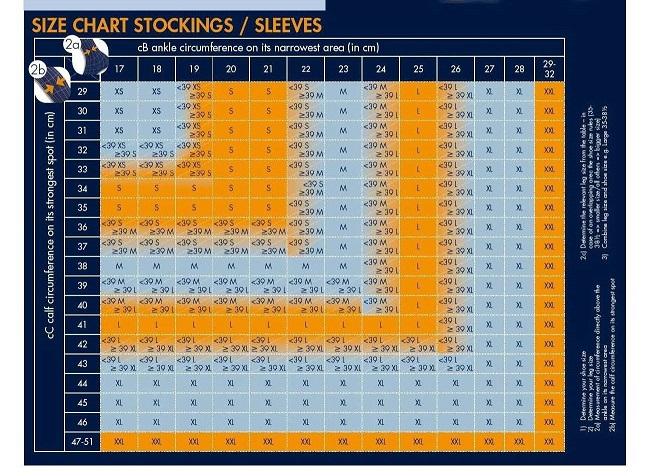 Sigvaris running socks size charts